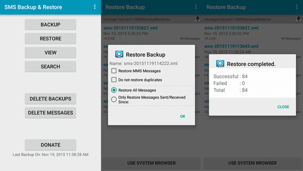 Récupérer des messages texte supprimés sur Android