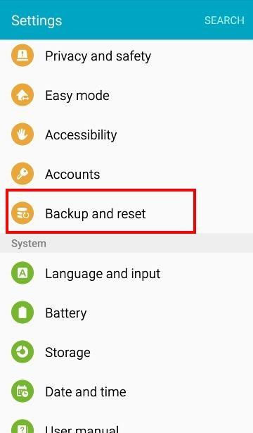 backup reset