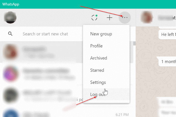 logout of whatsapp app